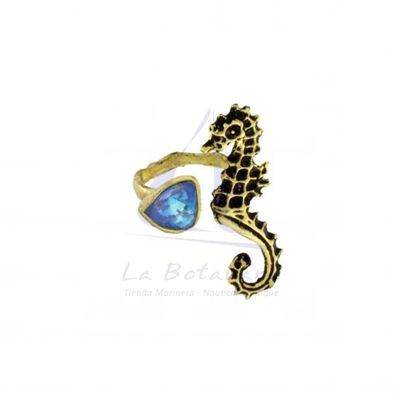 Anillo caballito de mar de latón con cristal azul