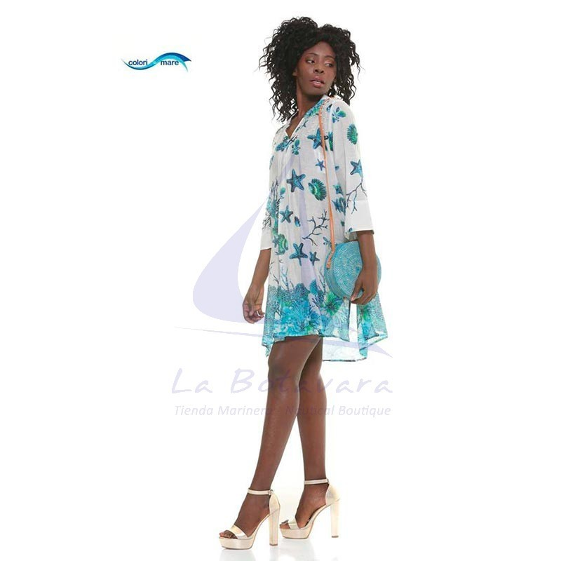 Colori di Mare beach dress with seabed print sky blue