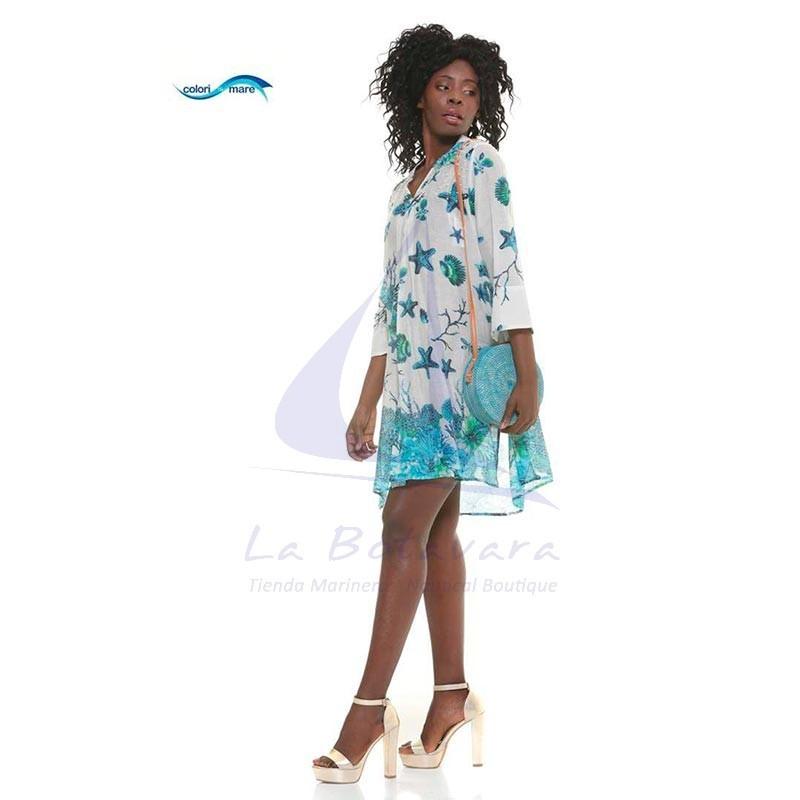Vestido Colori di Mare celeste de playa con estampado marino