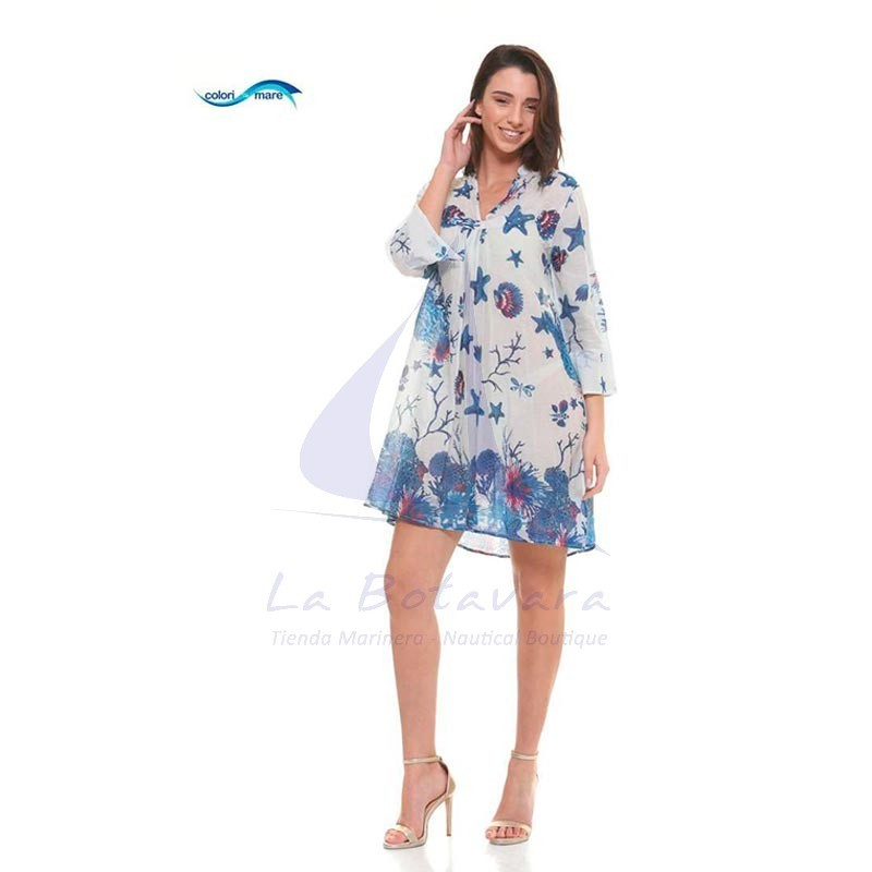 Vestido Colori di Mare azul marino de playa con estampado marino