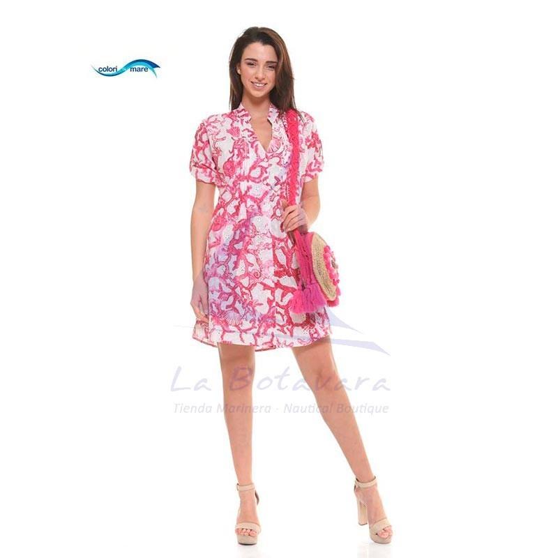 Pink Colori di Mare beach dress with corals print