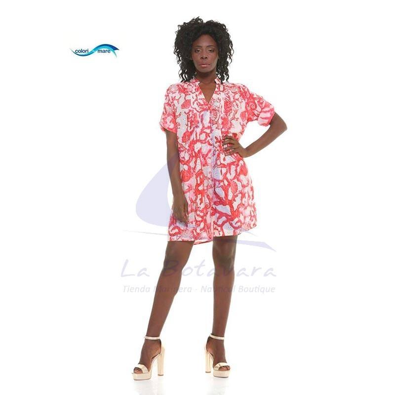 Red Colori di Mare beach dress with corals print