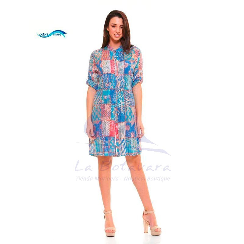 Blue Colori di Mare beach dress with checked print