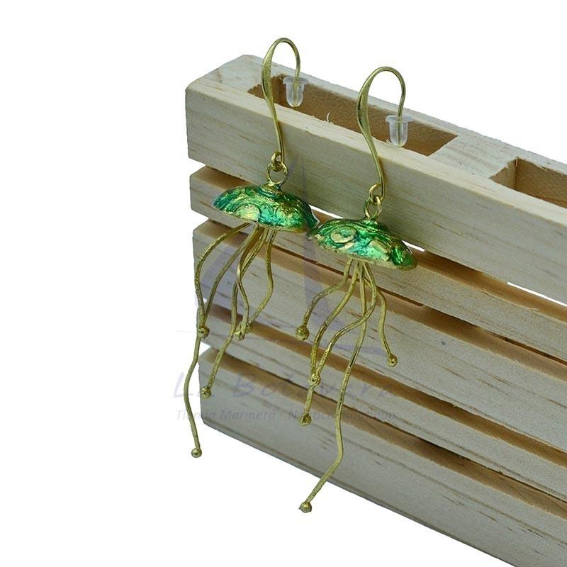 Jellyfish brass earrings enamel green