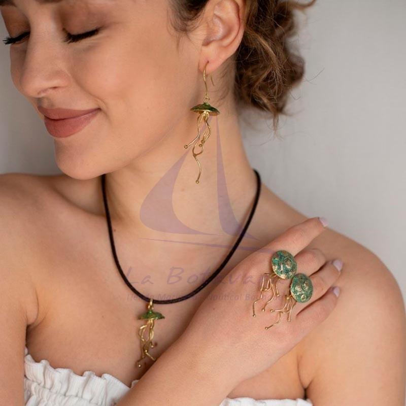 Jellyfish brass earrings rust green 2