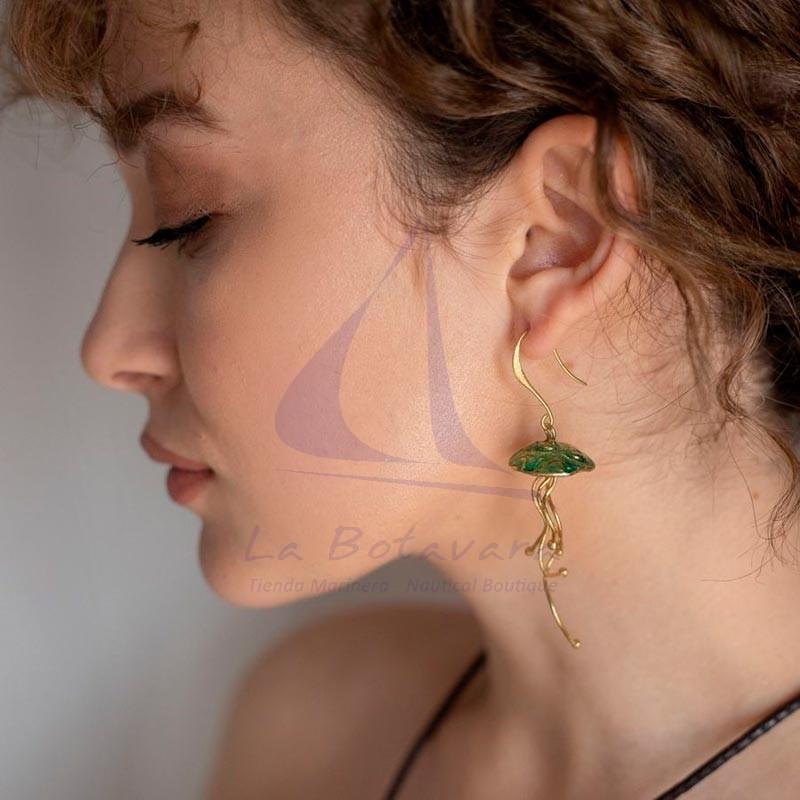 Jellyfish brass earrings enamel green 2