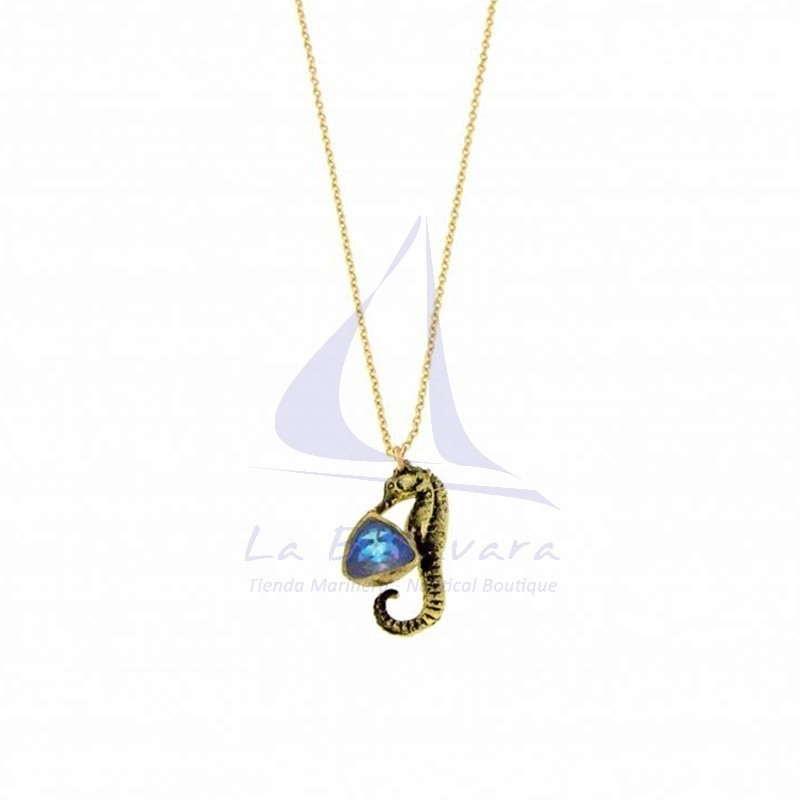 Black Brass seahorse pendant with blue crystal