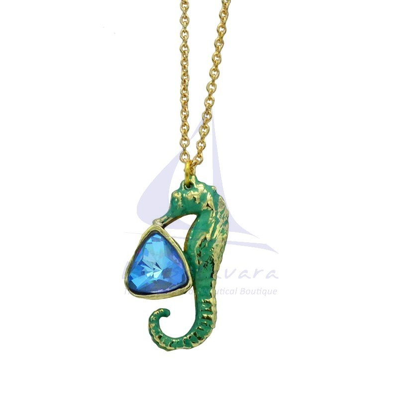 Green Brass seahorse pendant with blue crystal