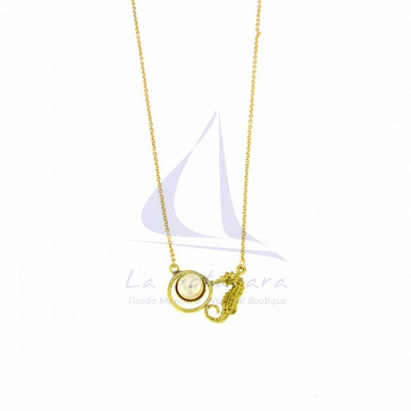 Brass seahorse pendant with synthetic pearl