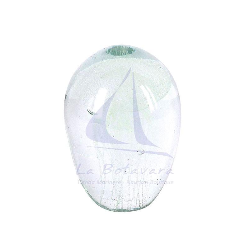 Pisapapeles de cristal con medusa blanca