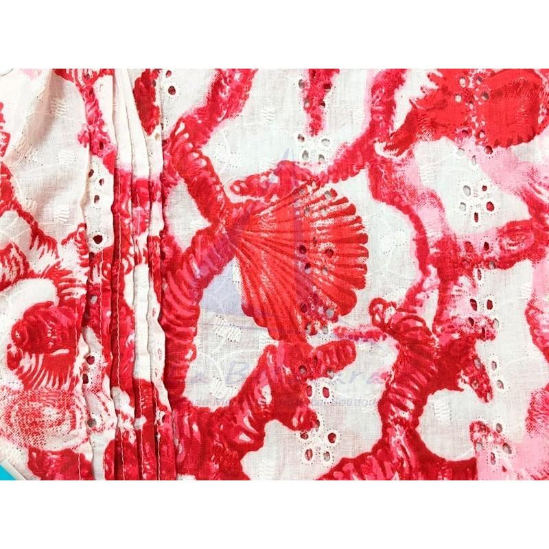 Vestido Colori di Mare de playa con corales rojo 2
