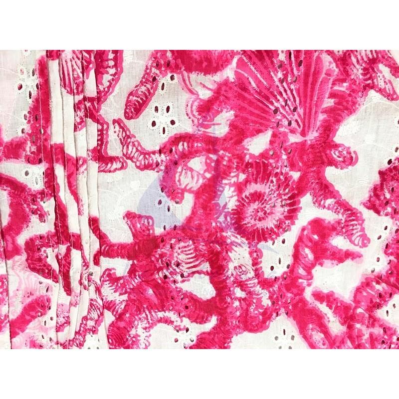 Pink Colori di Mare beach dress with corals print 2