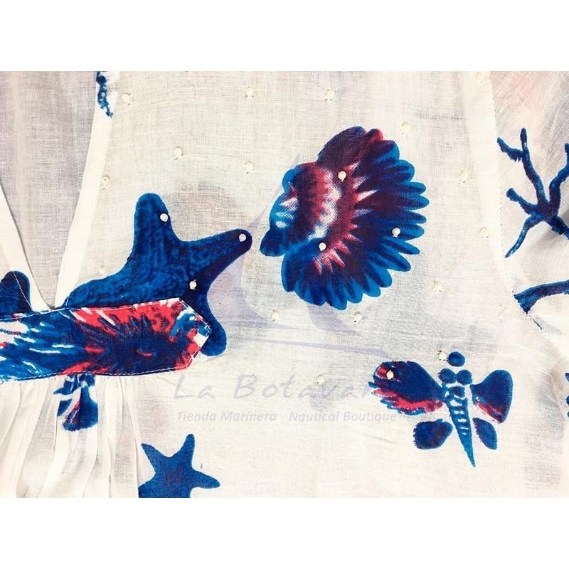 Vestido Colori di Mare azul marino de playa con estampado marino 2