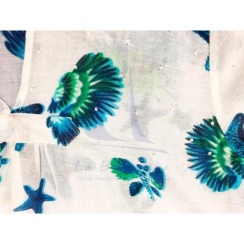 Colori di Mare beach dress with seabed print sky blue 2