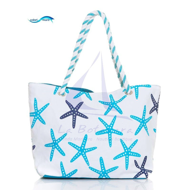 Sky blue Colori di Mare bag with starfish print
