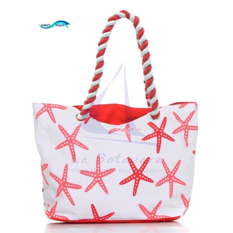 Red Colori di Mare bag with starfish print