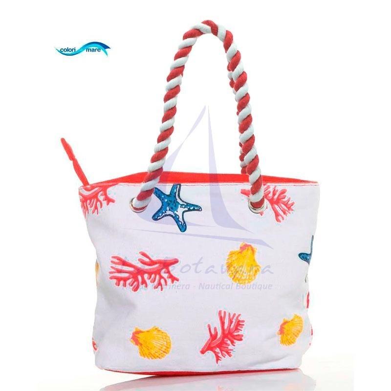Red Colori di Mare handbag with corals print