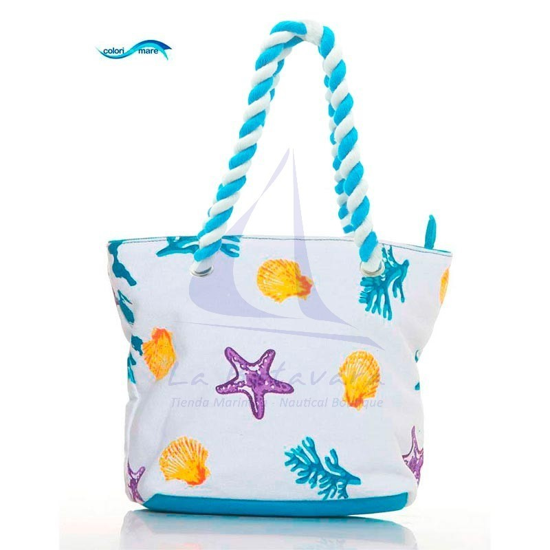 Sky blue Colori di Mare handbag with corals print