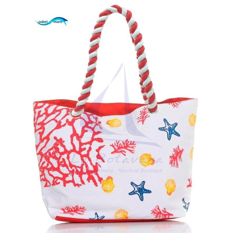 Red Colori di Mare bag with corals print