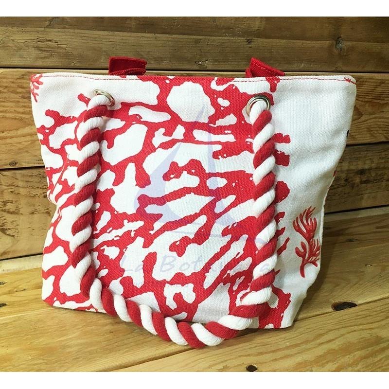 Red Colori di Mare handbag with corals print 2