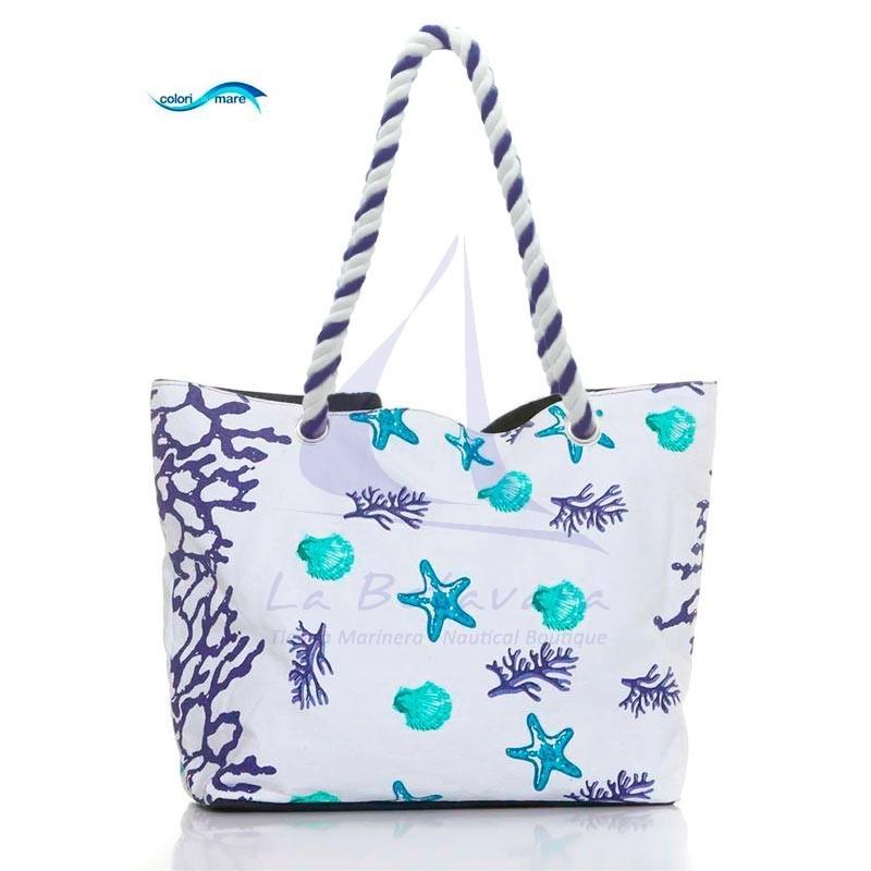 Bolso de playa Colori di Mare con corales azul marino