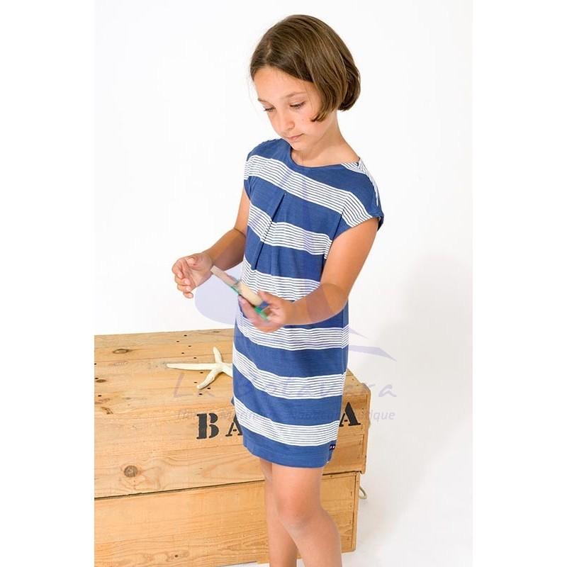 Vestido Batela de niña con franjas azules y rayas blancas