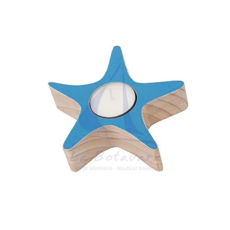 Portavelas estrella de mar de madera azul