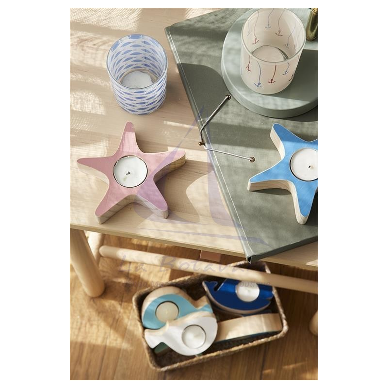 Wooden starfish candle holder