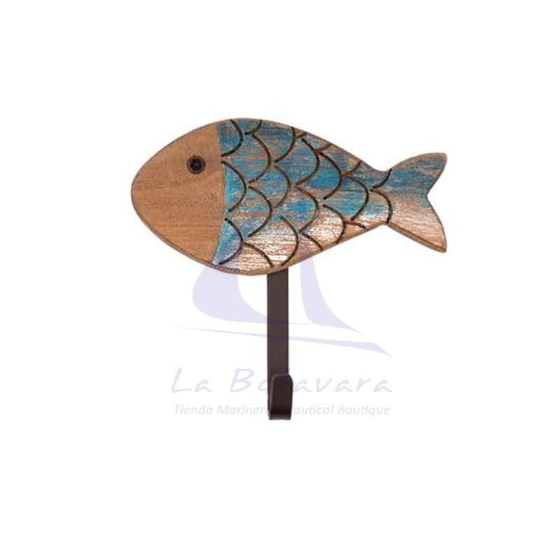 Percha pez de madera y metal azul
