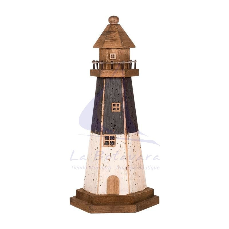 Blue & white aged wooden lighthouse