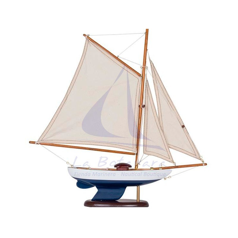 Classic blue and white sailboat
