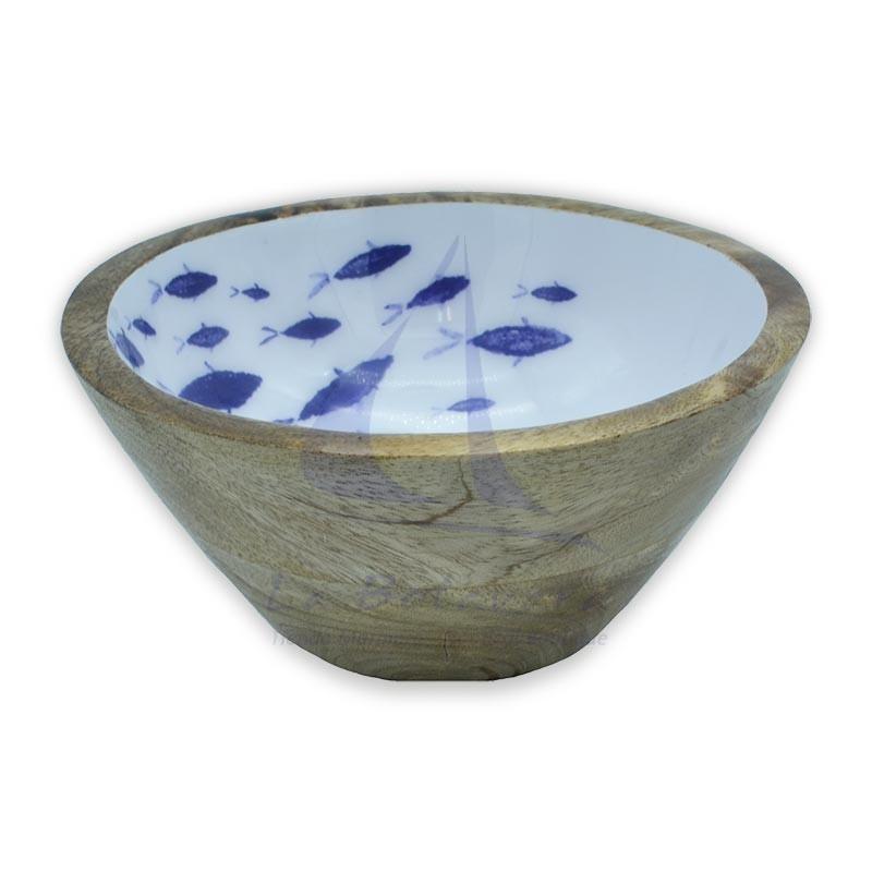 Bowl de madera con peces esmaltados