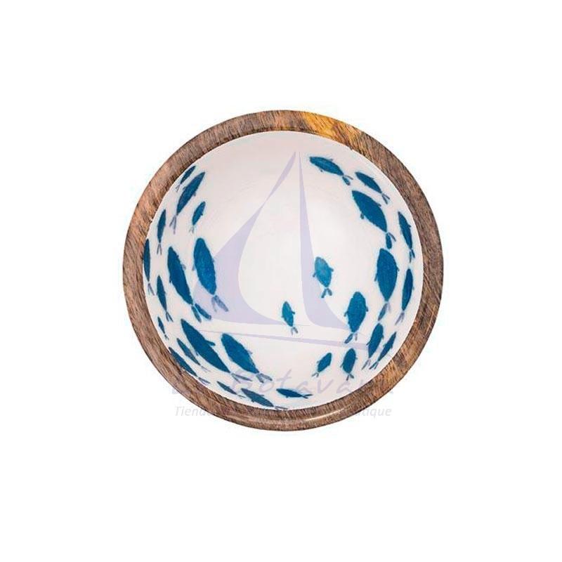 Bowl de madera con peces esmaltados 2