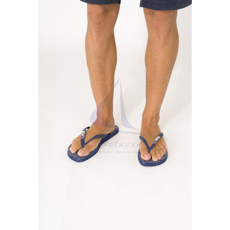 Chanclas Batela de hombre azul marino con rayas 2