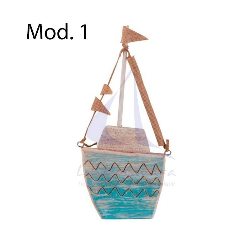 Turquoise wooden boat with flags
