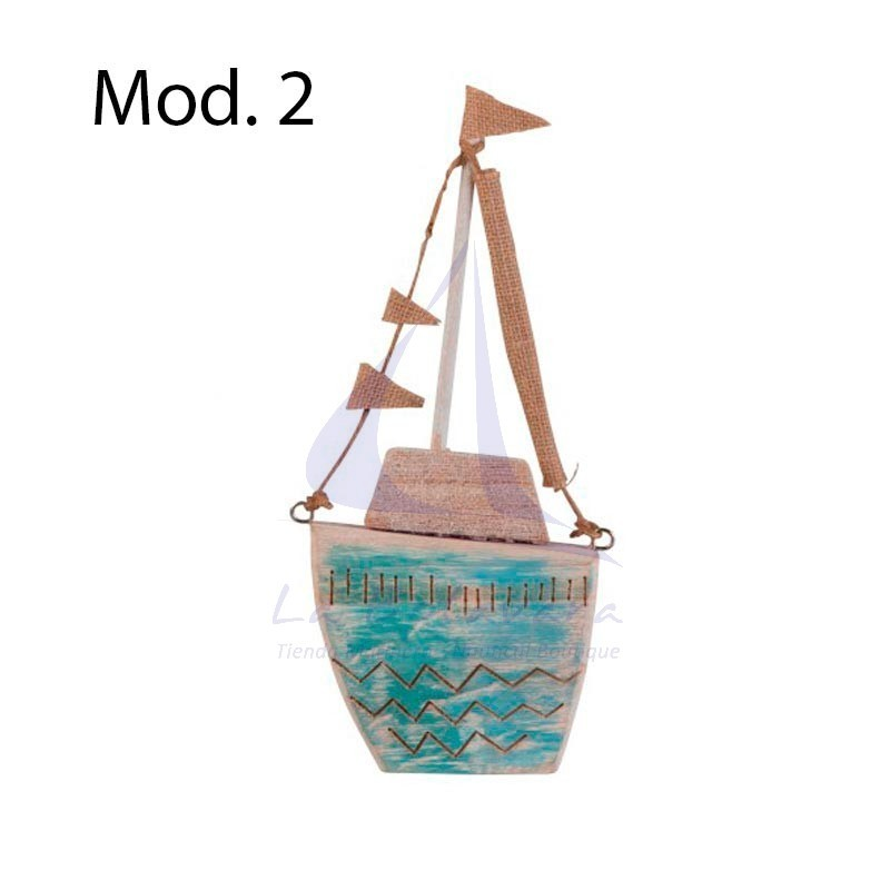 Turquoise wooden boat with flags 2