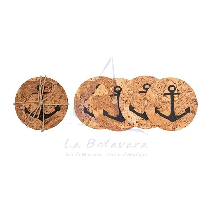 Set 6 cork coasters with anchor