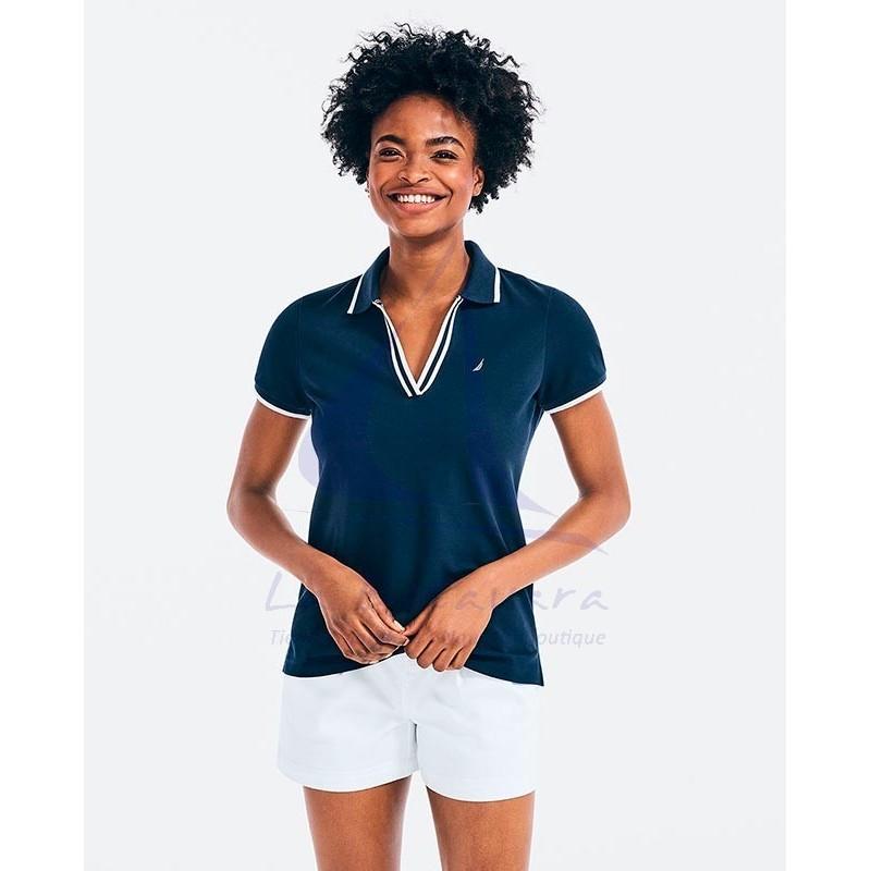 Nautica women's navy blue V-neck polo shirt