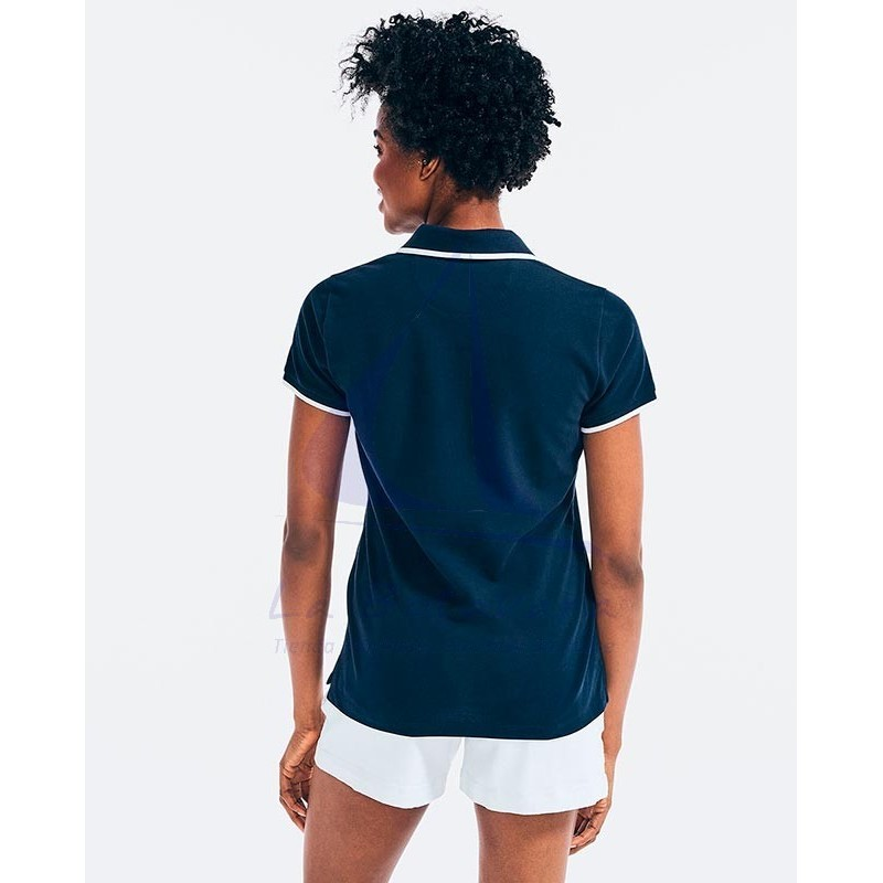 Polo Nautica de mujer azul marino con cuello de pico 2