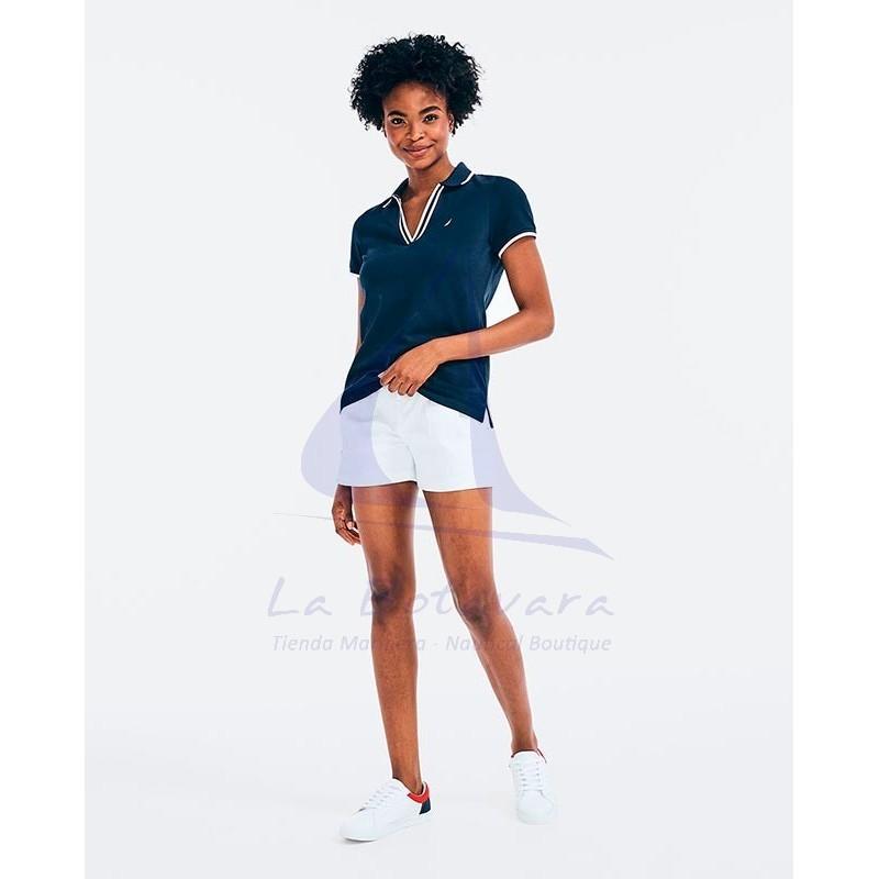 Nautica women's navy blue V-neck polo shirt 4