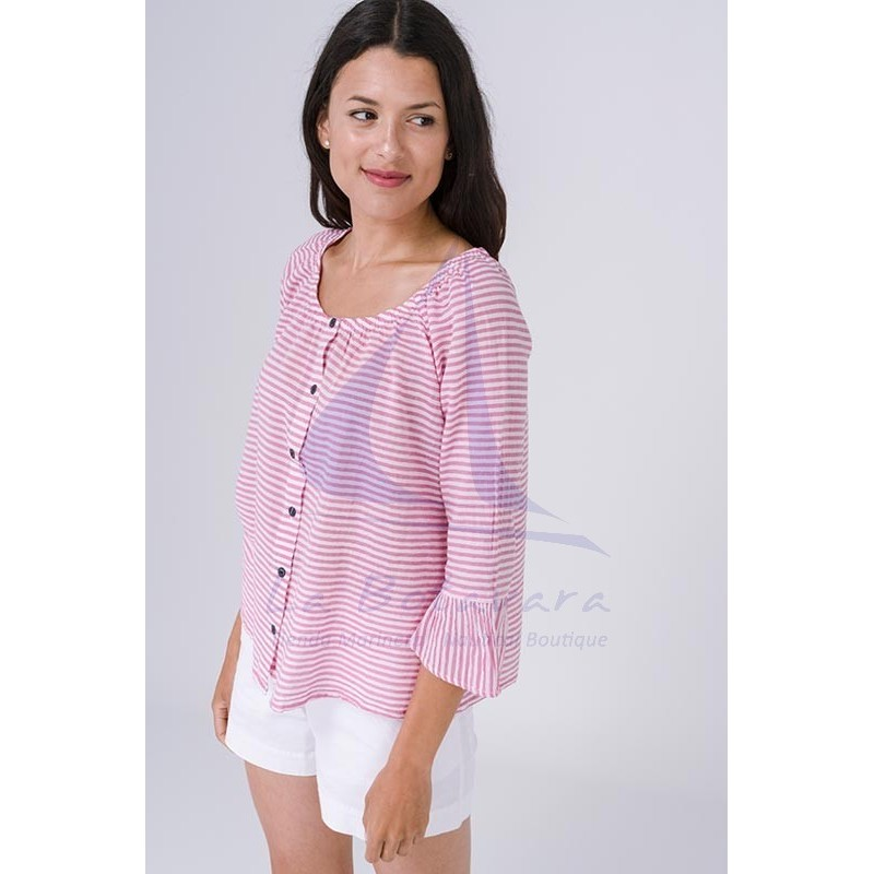 Batela blouse with pink and white stripes 3