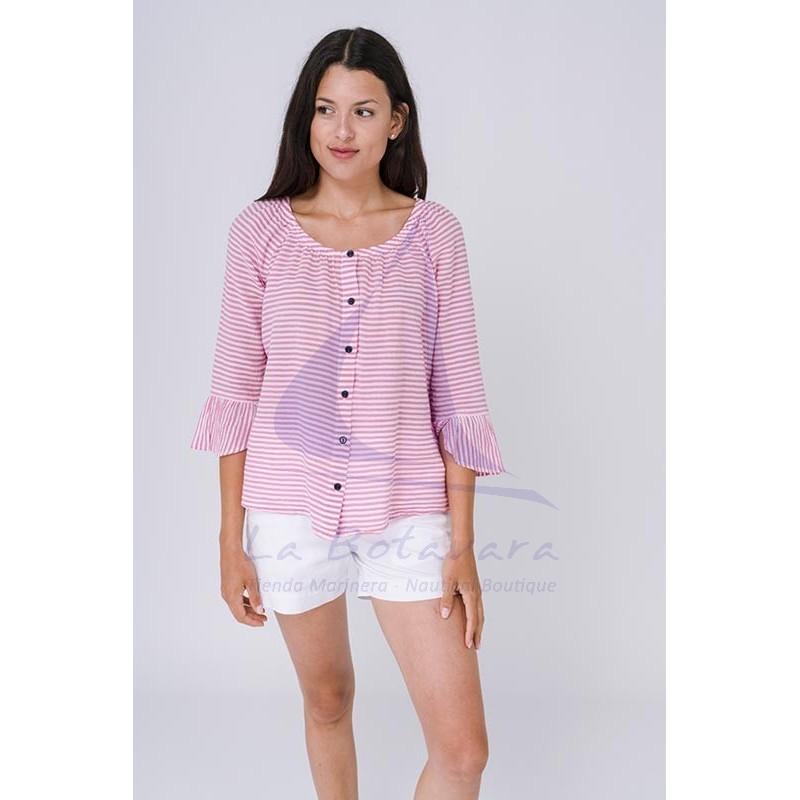Blusa Batela de rayas rosas y blancas 4