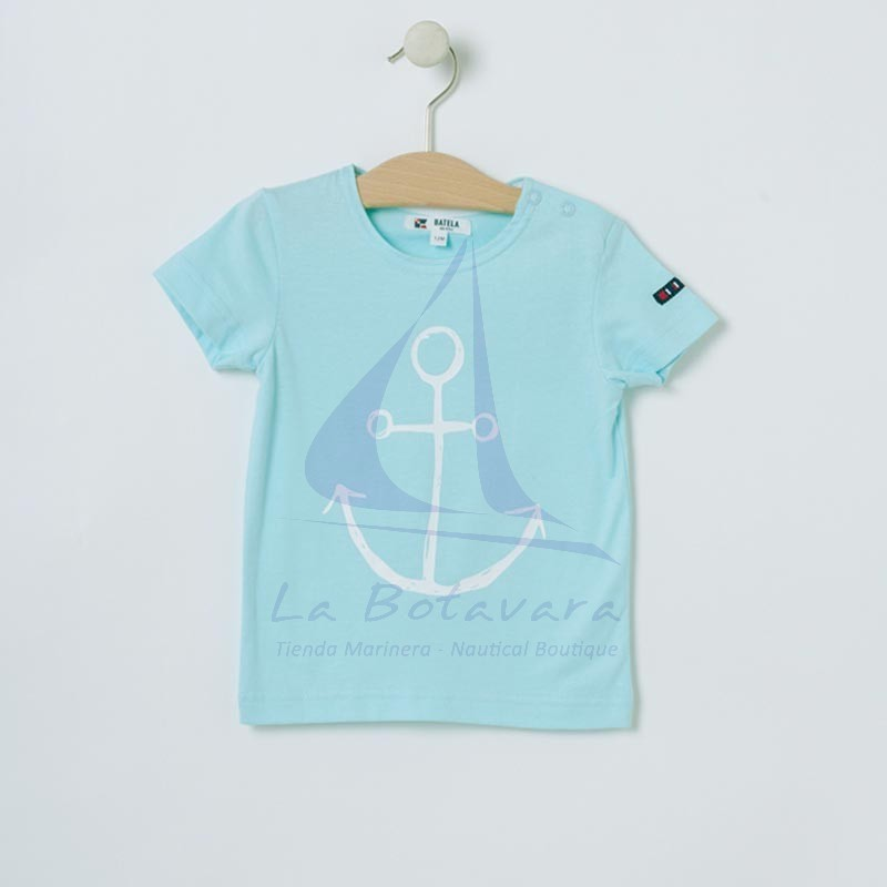 Camiseta Batela de bebe con ancla celeste 2