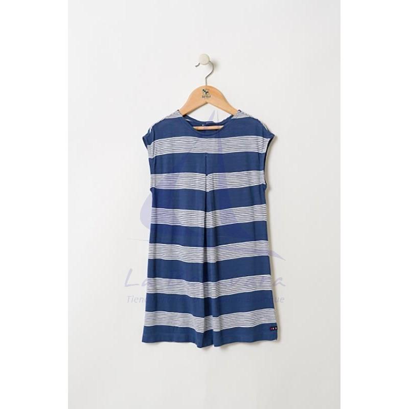 Vestido Batela de niña con franjas azules y rayas blancas 2