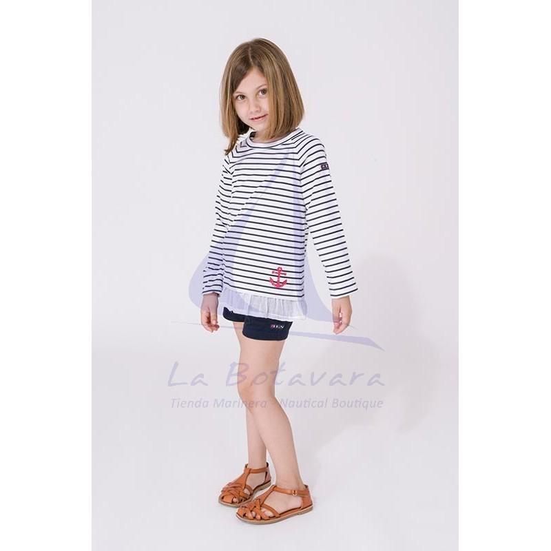 Camiseta Batela niña con volantes blanco y azul marino 4