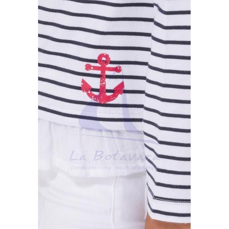 Camiseta Batela niña con volantes blanco y azul marino 5