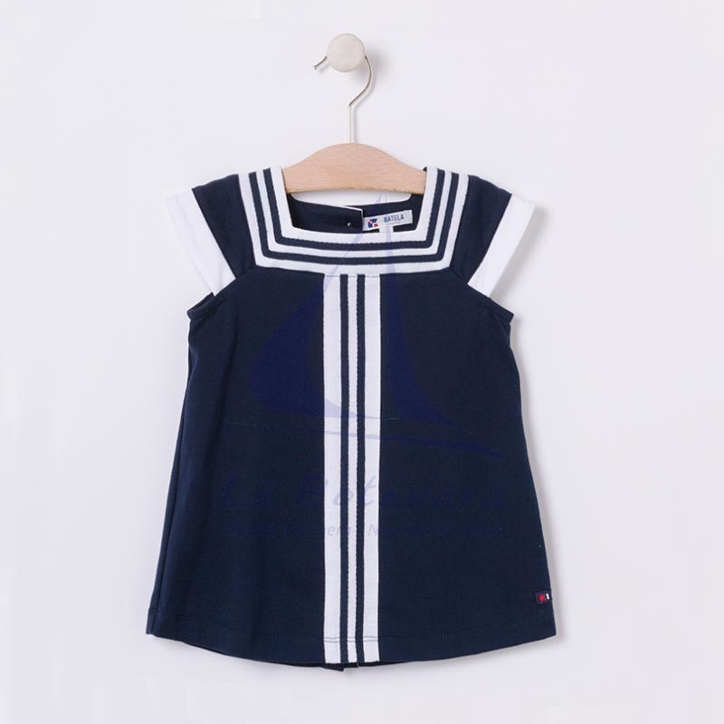 Navy blue and white nautical baby dress