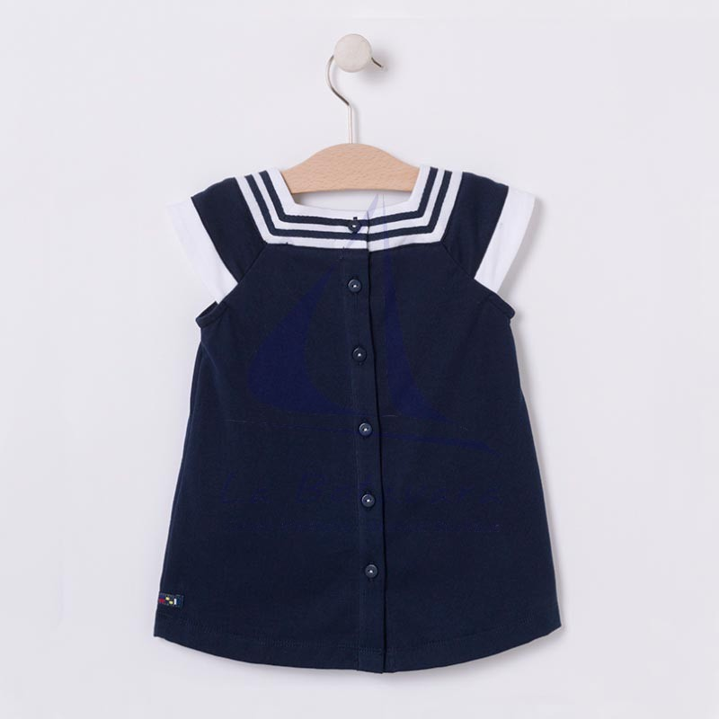 Navy blue and white nautical baby dress 2