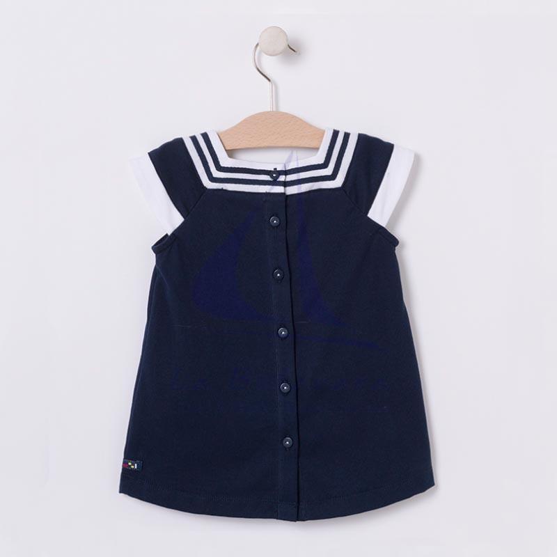 Vestido náutico de bebe azul marino y blanco 2
