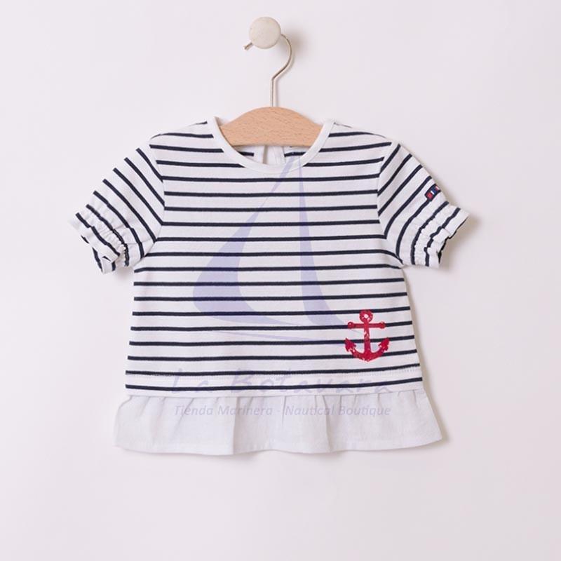 Camiseta Batela de bebe con volantes blanco y azul marino